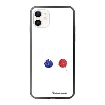 Coque iPhone 12 Mini soft touch effet glossy noir Chiffon pompom Design La Coque Francaise
