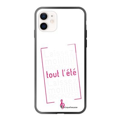 Coque iPhone 12 Mini soft touch effet glossy noir Laissez-moi bronzer Design La Coque Francaise