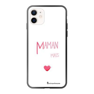 Coque iPhone 12 Mini soft touch effet glossy noir Maman pool coule Design La Coque Francaise