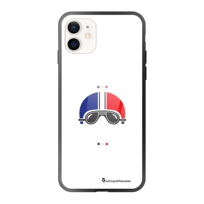Coque iPhone 12 Mini soft touch effet glossy noir Ca gazz blanc Design La Coque Francaise