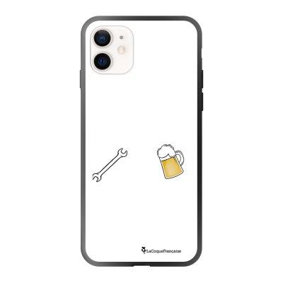 Coque iPhone 12 Mini soft touch effet glossy noir Bricole et picole blanc Design La Coque Francaise