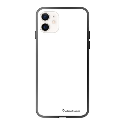 Coque iPhone 12 Mini soft touch effet glossy noir Macho a mi temps blanc Design La Coque Francaise
