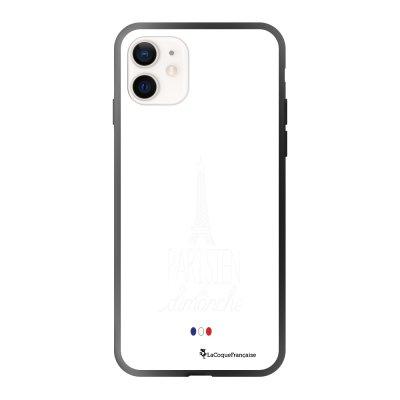 Coque iPhone 12 Mini soft touch effet glossy noir Parisien du dimanche blanc Design La Coque Francaise