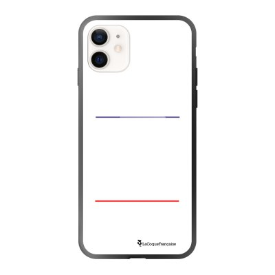 Coque iPhone 12 Mini soft touch effet glossy noir Bavard et impatient blanc Design La Coque Francaise