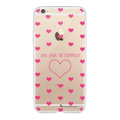 Coque iPhone 6 Plus / 6S Plus souple transparente Pluie de Bonheur Rose Motif Ecriture Tendance La Coque Francaise.