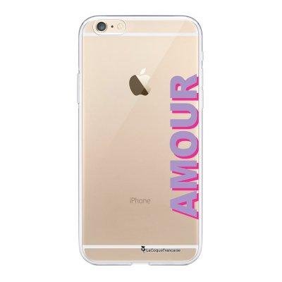 Coque iPhone 6 Plus / 6S Plus souple transparente Amour parme et fushia Motif Ecriture Tendance La Coque Francaise.