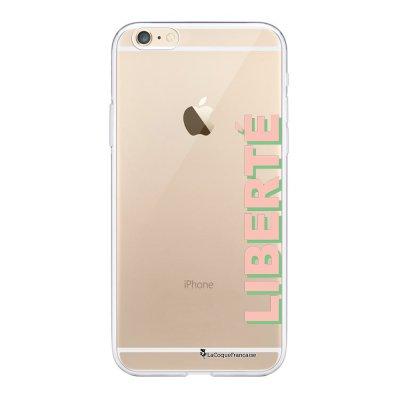 Coque iPhone 6 Plus / 6S Plus souple transparente Liberté rose et vert Motif Ecriture Tendance La Coque Francaise.