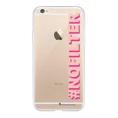 Coque iPhone 6 Plus / 6S Plus souple transparente No Filter rose et fushia Motif Ecriture Tendance La Coque Francaise.