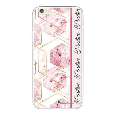 Coque iPhone 6 Plus / 6S Plus souple transparente Marbre Rose Positive Motif Ecriture Tendance La Coque Francaise.