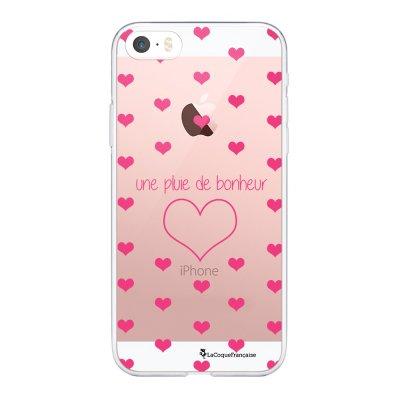 Coque iPhone 5/5S/SE souple transparente Pluie de Bonheur Rose Motif Ecriture Tendance La Coque Francaise.