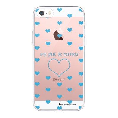 Coque iPhone 5/5S/SE souple transparente Pluie de Bonheur Bleu Motif Ecriture Tendance La Coque Francaise.