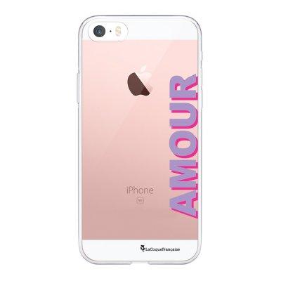 Coque iPhone 5/5S/SE souple transparente Amour parme et fushia Motif Ecriture Tendance La Coque Francaise.