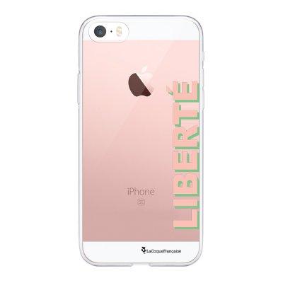 Coque iPhone 5/5S/SE souple transparente Liberté rose et vert Motif Ecriture Tendance La Coque Francaise.