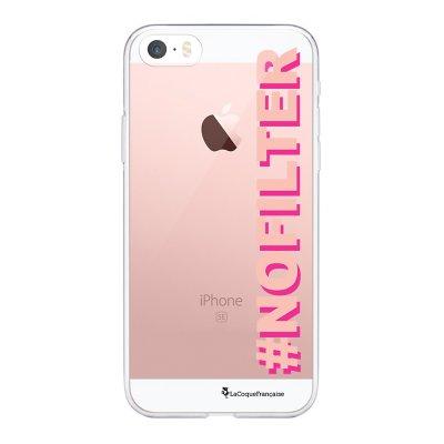 Coque iPhone 5/5S/SE souple transparente No Filter rose et fushia Motif Ecriture Tendance La Coque Francaise.
