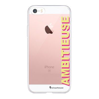 Coque iPhone 5/5S/SE souple transparente Ambitieuse jaune et fushia Motif Ecriture Tendance La Coque Francaise.