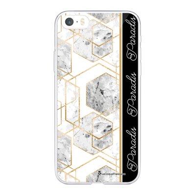 Coque iPhone 5/5S/SE souple transparente Marbre Noir Paradis Motif Ecriture Tendance La Coque Francaise.