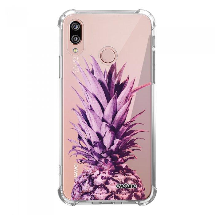 Coque Huawei P20 Lite anti-choc souple angles renforcés transparente Ananas Dégradé Violet Evetane. - Coquediscount