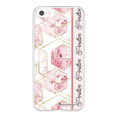 Coque iPhone 5/5S/SE souple transparente Marbre Rose Positive Motif Ecriture Tendance La Coque Francaise.
