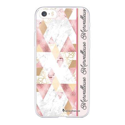 Coque iPhone 5/5S/SE souple transparente Marbre Rose Merveilleuse Motif Ecriture Tendance La Coque Francaise.