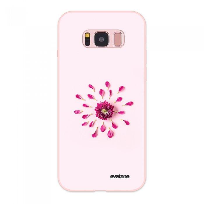 Coque Samsung Galaxy S8 Silicone Liquide Douce rose pâle Fleur Rose Fushia Evetane. - Coquediscount