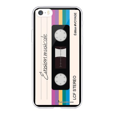 Coque iPhone 5/5S/SE souple transparente Cassette Vintage Evasion Motif Ecriture Tendance La Coque Francaise.