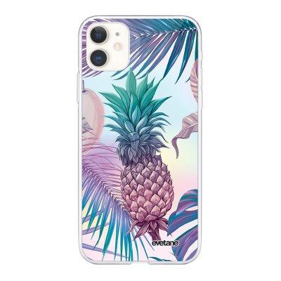 Coque iPhone 11 360 intégrale transparente Ananas Violet Tendance Evetane