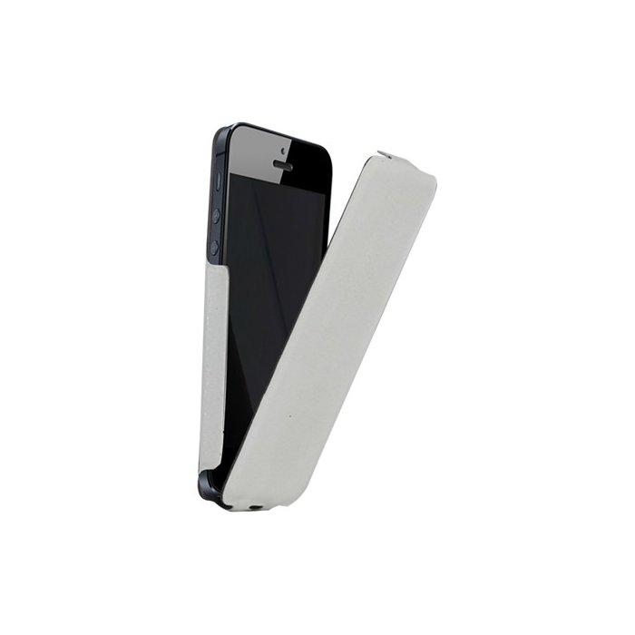 Etui coque ultra slim blanc finition cuir grainé pour iPhone 5