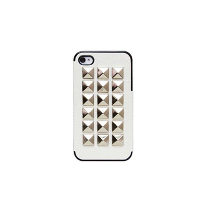 Coque Fashion blanche cloute argente iPhone 4/4S