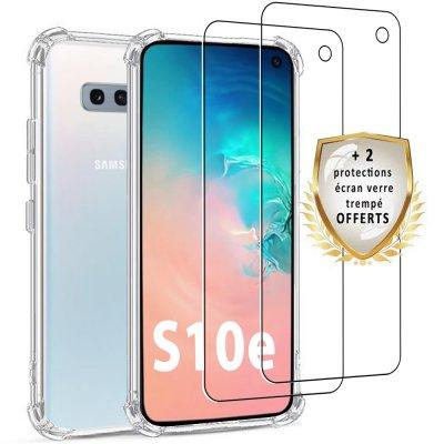 Coque Samsung Galaxy S10e  Antichoc Silicone + 2 verres trempés.