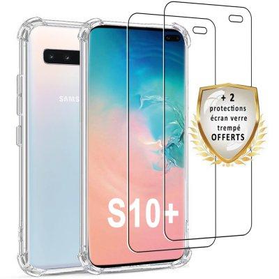 Coque Samsung Galaxy S10 Plus  Antichoc Silicone + 2 verres trempés.