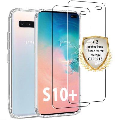 Coque Samsung Galaxy S10 Plus Silicone + 2 verres trempés.