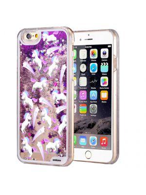 Coque EVETANE transparente Licornes Etoiles avec Paillettes Liquides pour iPhone 6/6S - Violet