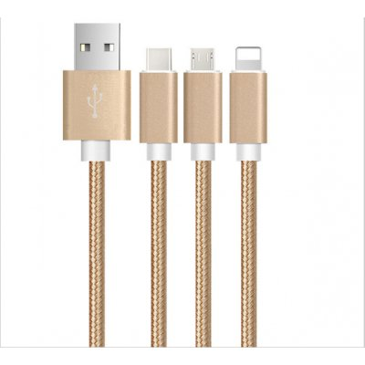 Câble USB de charge 3 en 1 compatible Micro USB, Apple Lightning, interface Type-C - Gold
