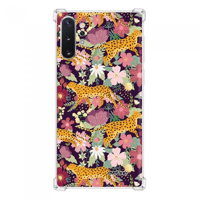 Coque Samsung Galaxy Note 10 Plus anti-choc souple angles renforcés transparente Léopard et Fleurs Evetane.