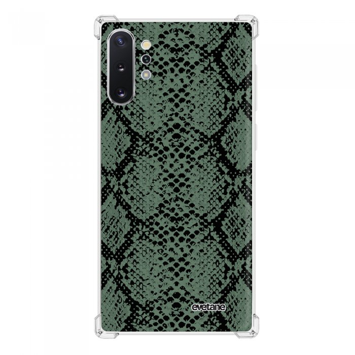 Coque Samsung Galaxy Note 10 Plus anti-choc souple angles renforcés transparente Python vert Evetane.