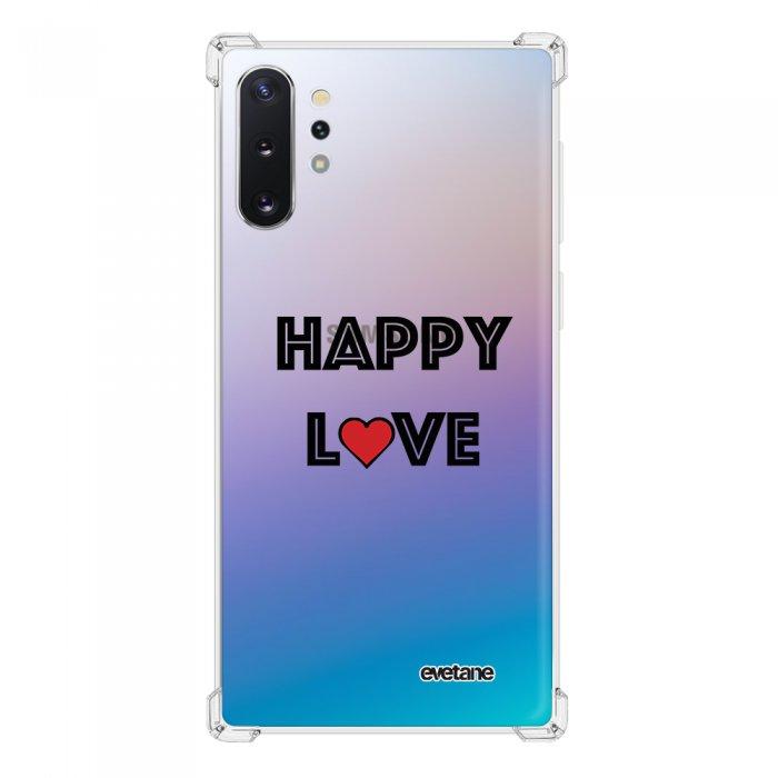 Coque Samsung Galaxy Note 10 Plus anti-choc souple angles renforcés transparente Happy Love Evetane.