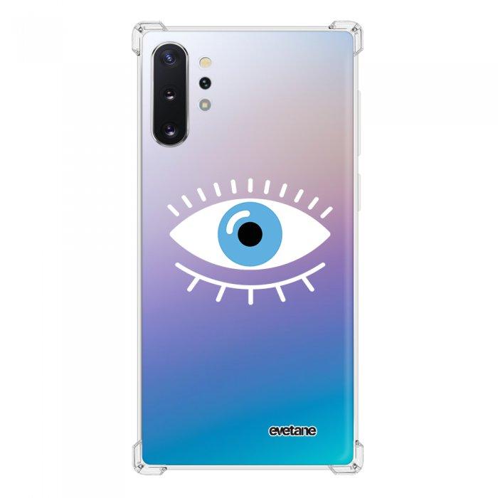 Coque Samsung Galaxy Note 10 Plus anti-choc souple angles renforcés transparente Oeil Bleu Evetane.