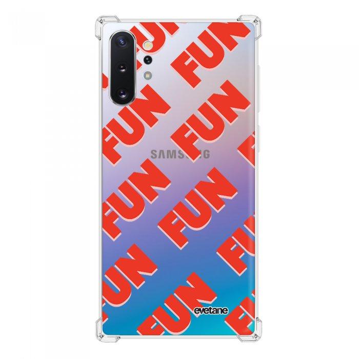 Coque Samsung Galaxy Note 10 Plus anti-choc souple angles renforcés transparente Fun orange Evetane.