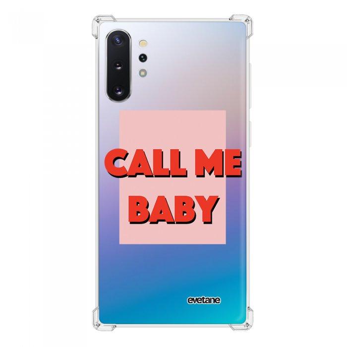Coque Samsung Galaxy Note 10 Plus anti-choc souple angles renforcés transparente Call me baby Evetane.