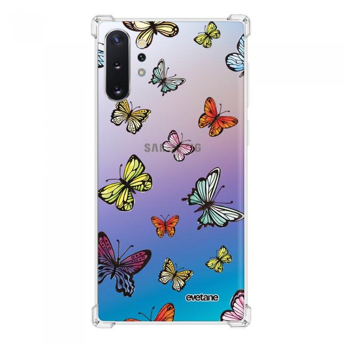 Coque Samsung Galaxy Note 10 Plus anti-choc souple angles renforcés transparente Papillons Multicolors Evetane.