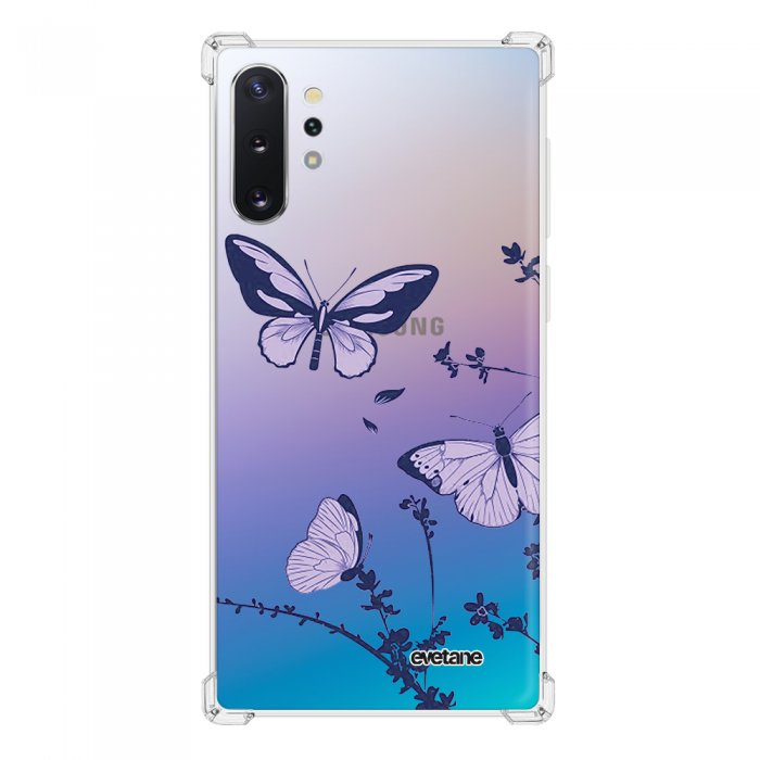 Coque Samsung Galaxy Note 10 Plus anti-choc souple angles renforcés transparente Papillons Violets Evetane.