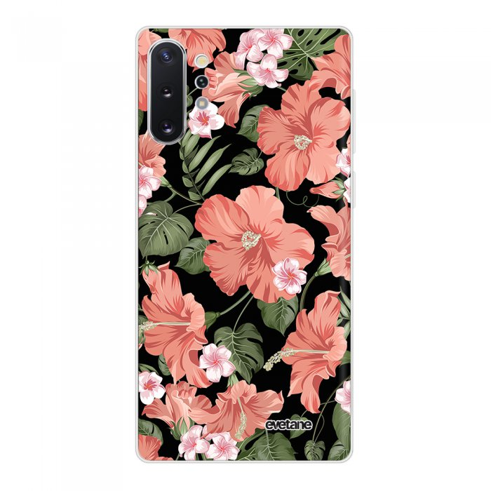 Coque Samsung Galaxy Note 10 Plus 360 intégrale transparente Hisbiscus Corail Tendance Evetane