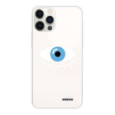 Coque iPhone 12 Pro Max souple transparente Oeil Bleu Motif Ecriture Tendance Evetane.