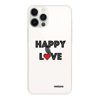Coque iPhone 12/12 Pro souple transparente Happy Love Motif Ecriture Tendance Evetane.