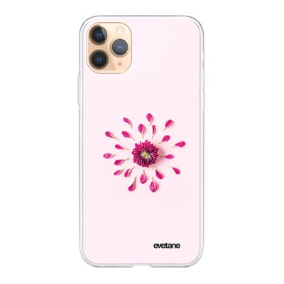Coque iPhone 11 Pro souple transparente Fleur Rose Fushia Motif Ecriture Tendance Evetane.