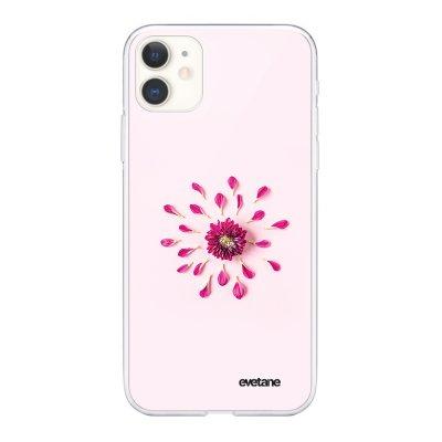 Coque iPhone 11 souple transparente Fleur Rose Fushia Motif Ecriture Tendance Evetane.