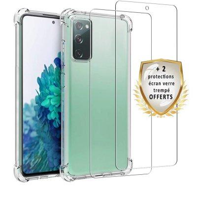 Coque Samsung Galaxy S20 FE Antichoc Silicone + 2 Vitres en verre trempé Protection écran