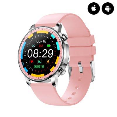 Montre connectée Bluetooth fitness iP67 avec mesure de la pression artérielle  - Rose