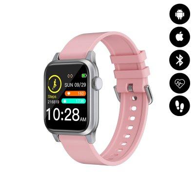 Montre connectée Bluetooth écran personnalisable avec mesure d'activité, fréquence cardiaque - Rose