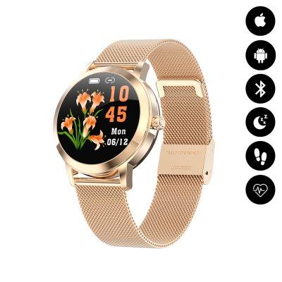 Montre connectée avec notification, mesure de fréquence cardiaque - Or